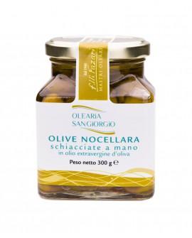 Olive Nocellara Schiacciate a mano in olio extravergine d'oliva - vaso in vetro 300g - Olearia San Giorgio