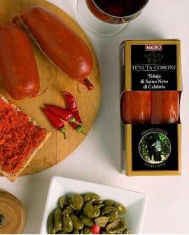 Nduja di Suino Nero di Calabria piccante 250 gr Tenuta Corone - Salumificio Madeo