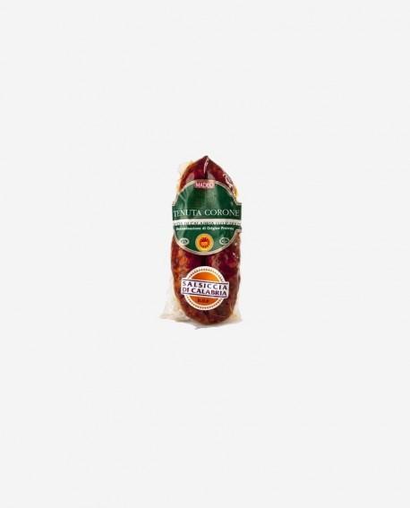 Salsiccia di Calabria D.O.P. catena rossa dolce 250 gr Tenuta Corone - Salumificio Madeo