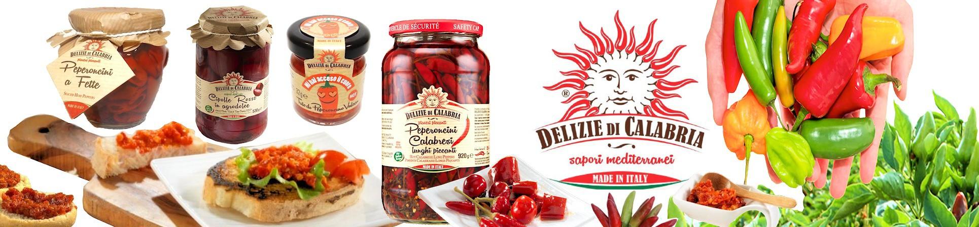 DELIZIE DI CALABRIA - Peperoncino Calabrese piccante, a fette, trito, cipolla rossa di Tropea IGP - vendita online